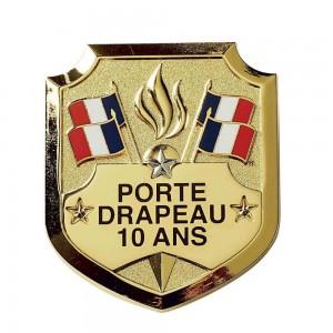 Insigne Porte-Drapeaux 10 ans - Taille Réduction - Bacqueville