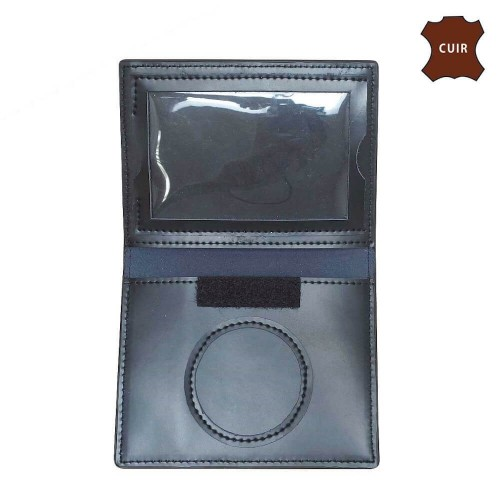 Porte-Cartes Noir Cuir - 2 Volets Format CB - Emplacement Médaille - Opex