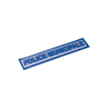 Bandeau POLICE MUNICIPALE Rétroréfléchissant - Velcro Bleu 2x13 cm