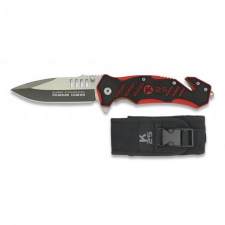 Couteau de Poche Pliant Sapeur-Pompier K25 19583 - Coupe-ceinture Brise-vitre