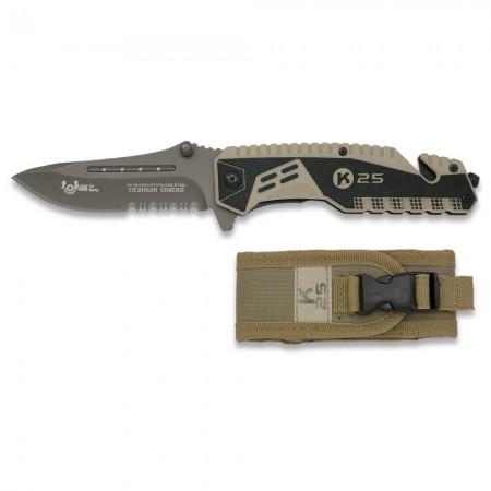 Couteau de Poche Pliant Tactique - Ouverture Rapide Assistée - K25 19443-A